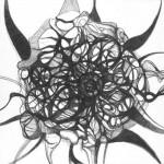 "Amorphous Space, 2004. Ballpoint pen on paper. 7"" x 7""."