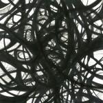 """Dark Spaces. 2004. Ink on rag paper. 7"""" x 7""""."""