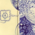 "Inside the Sketchbook 2, 2009. Ballpoint pen on rag paper. 7.625"" x 5.5""."