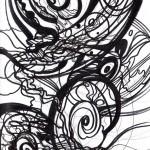 """Inside the Sketchbook, 2008. Ink on rag paper. 8.5"""" x 11""""."""