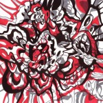 "Red and Grey Vortex 2, 2014. Ink marker on rag paper. 8"" x 8""."