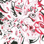 """Red Vortex 8, 2014. Ink and marker on rag paper. 8"""" x 8"""". Private Collection."""