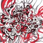 "Red and Grey Vortex, 2014. Ink marker on rag paper. 8"" x 8""."