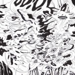 "Spiraling Black Vortex, 2015. Ink and marker on rag paper. 11"" x 8.5""."