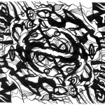 "Spiraling Oracles, 2013. Archival inkjet monotype on rag paper. 22"" x 17""."