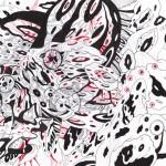 "Warped Kingdom, 2015. Ink, marker, and ballpoint pen on rag paper. 11"" x 8""."