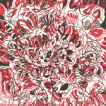 """Red Vortex, 2013. Ink marker on rag paper. 12"""" x 12"""". Private Collection."""